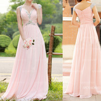 Pink prom dresses, long prom dresses, cheap prom dresses, sexy prom dress, chiffon prom dresses, bridesmaid dresses, evening dresses, RE339