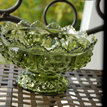 1960 Fenton Crystal / Large 6 inch Candle Bowl / Hobnail Design / Colonial Green / Fantastic Condition