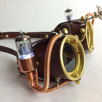 Powered Ocular Enhancers - Light Up Steampunk Goggles Made from hand stitched leather, copper, vacuum tubes, and brass.