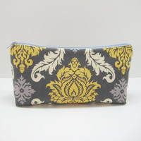 Cosmetic Pouch, Zippered Pouch, Cosmetic Bag, Gray and Yellow Damask, Ready to Ship