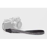 Charcoal Baby Alpaca Wool and Black Leather Camera Wrist Strap (cord attachment)