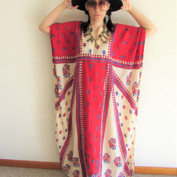 Vintage Indian Southwest Hippie Boho Tribal Oversize Kaftan Mumu Dress