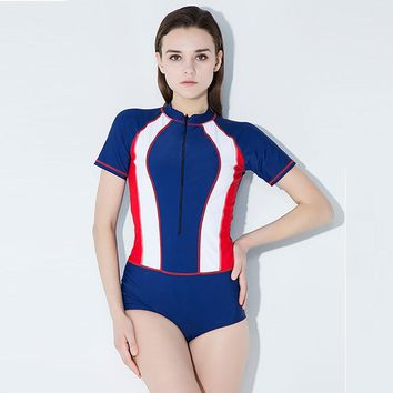 2018 One Piece Women Swimwear Short Sleeves Sexy Vintage Sport Swimsuit Patchwork Push Up Bathing Suits Surfing Suits