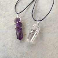 2 Handmade Wire-Wrapped Necklaces: 1 Quartz, 1 Amethyst