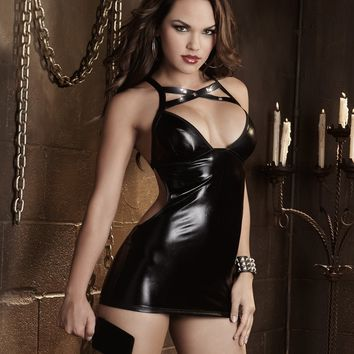 Fetish Faux Leather Spanking Chemise