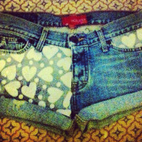 Heart denim shorts  by AngeliqueMerici on Etsy