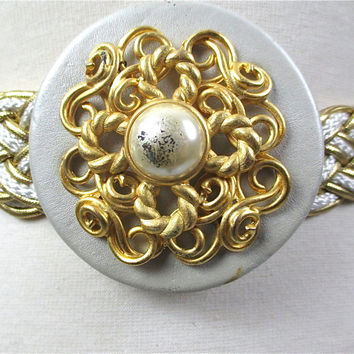 gold woven belt pearl buckle white gold braided 60s retro belt