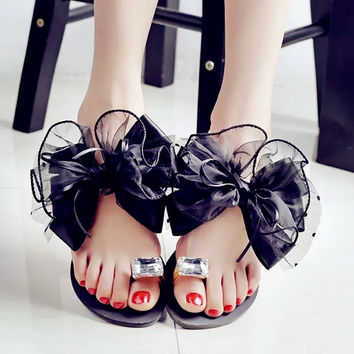 2015 summer lady's Bowtie flower flat sandals sexy casual fashion female beach flip flops women mesh grey black shoes home