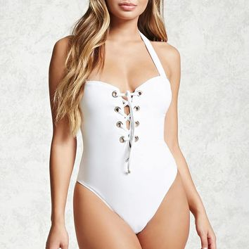 Lace-Up One-Piece Swimsuit