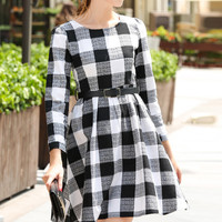 Plaid Round Neck A-Line Dress
