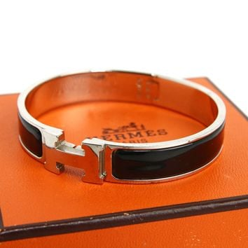 Hermes Clic Clac Bangle Bracelet Enamel Black Silver Authentic #3446