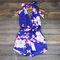 tropical paradise floral romper in purple