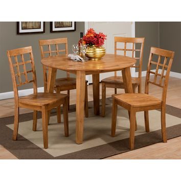 Simplicity Honey 5 Piece Round Dining Set - Table 4 Grid Back Chairs