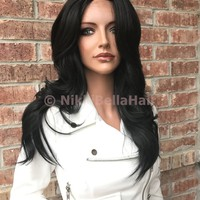 "Andrea Fringe SWISS 16"" Human Hair Blend Multi Parting Lace Front Wig"
