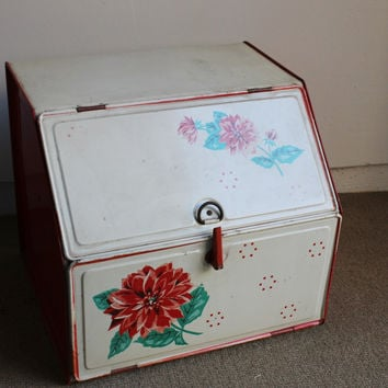 Vintage 1940s Red and White Rustic Enamelware Bread Box