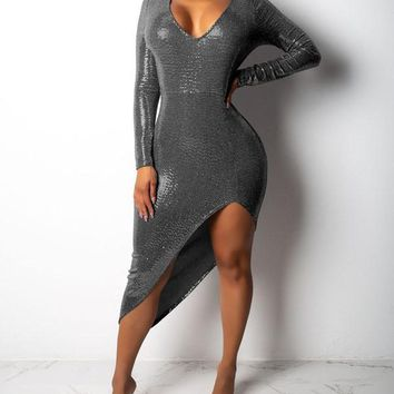 New Grey Patchwork Sequin Irregular Bodycon Sparkly Glitter V-neck Long Sleeve Party Clubwear Maxi Dress