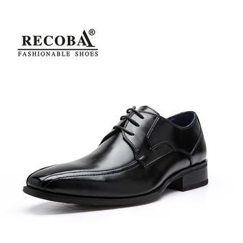 Mens shoes designer genuine leather lace up black formal dress wedding brogues oxfords derby shoes hombre