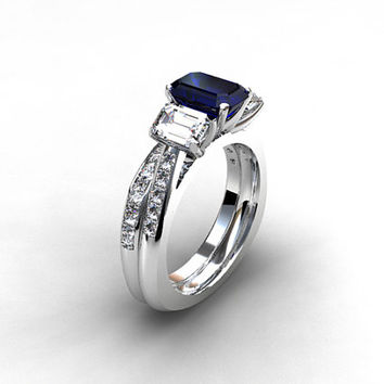 Best Unique Blue Sapphire Engagement Rings Products on Wanelo