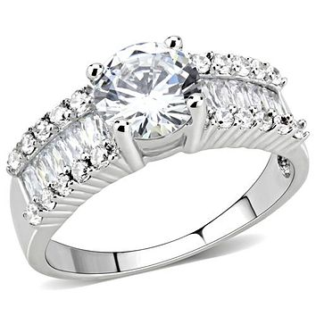 1.5CT Round Cut Solitaire Russian Lab Diamond Engagement Ring