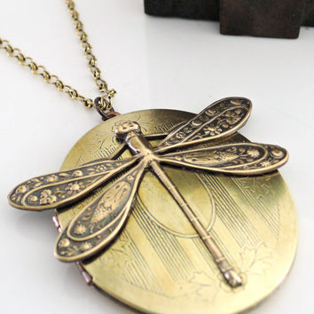 Locket Necklace - Art Nouveau Locket -  Dragonfly Jewelry - Dragonfly necklace - Vintage Brass jewelry - Large Locket - handmade jewelry