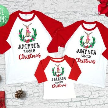Matching Family Christmas Shirts Reindeer Wreath Family