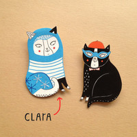 Shrink Plastic Brooch - Clara the cat - hand made to order