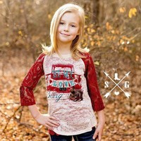 Southern Grace Kids Be My Love Song With Red Lace Sleeves Burnout Raglan
