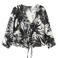 Black and White Tropical Print Tie Blouse