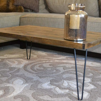 Rustic Modern Coffee Table 16x30, Tiny House Table, Hairpin Leg, Rustic Home Decor, Iron Legs, Wood Table, Christmas Gift, Present