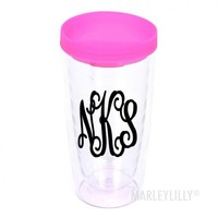 Monogrammed Clear 16oz Tumbler With Colored Lid | Marleylilly