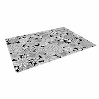 "Julia Grifol ""Welcome White Birds"" Black Floral Indoor / Outdoor Floor Mat"