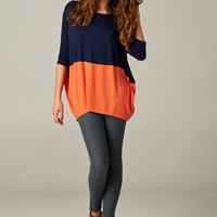 Navy Orange Color Block Top Women's Dolman Sleeved Top