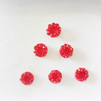 6 Round Red bindi,Blood Red rhinestone bindi,Velvette bindi sticker,Polka dots,Fake nose stud,Stick on body jewels,Indian wedding bindi,USA