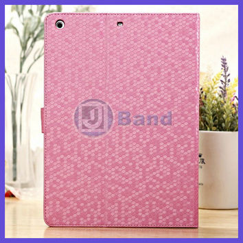 Bling Bling Luxury Stand Leather Smart Cover Case For iPad Air / iPad 5 Free Shipping
