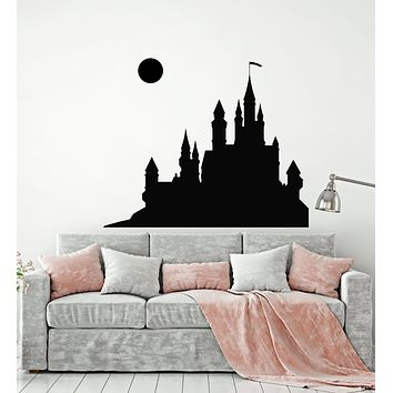 Vinyl Wall Decal Fairytale Medieval Castle Full Moon Child Room Stickers Mural (g529)