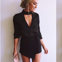 Black V-Neck Romper with Neck Choker