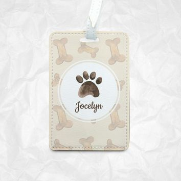 Personalized Doggie Paw Luggage tag Bag tag Card tag Traveller's Gift Student Card Tag ID Badge