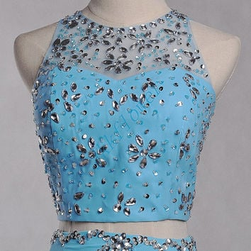 Unique Ice Blue Two Piece Prom Dresses,Beaded Backless Prom Dresses,Mermaid Evening Dresses,Bridesmaid Dresses,Homecoming Dresses