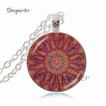 Flower Of Life Necklace Mandala Pendant Light Blue Spiritual Jewelry Sacred Geometry Neckless Yoga Pendant Metaphysical Choker