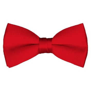 Solid Pre-Tied Red Bow Tie