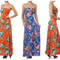 "HAMPTONS ""GARDEN PARTY"" FLORAL STRAPLESS KNIT MAXI DRESS BLUE ORANGE NWT $89"