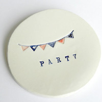 Party Ceramic Dish Ring Plate Red and Blue Flags Small Pottery