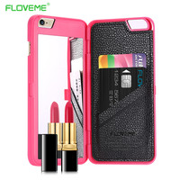 FLOVEME Stylish Chic With Mirror Case for iPhone 6 6s 7 for iPhone 6 Plus 6s 7 Plus Card Holders Luxury Hard Flip Women Cover