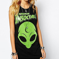 Black Forever Unsocial Alien Sleeveless Top