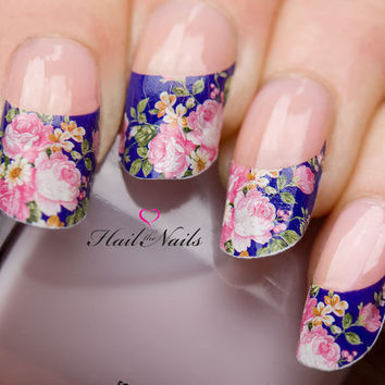 Nail WRAPS Nail Art Water Transfers Decals French Pink Blue Rose Nail Tips Y61