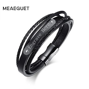 Meaeguet Engrave & Laser Black Layered Braided Microfiber Leather ID Bracelet Stainless Steel Bracelet & Bangle Men Jewelry
