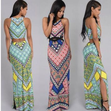 ac NOVQ2A New Bohemian V-neck Printed Dress Beach Dress