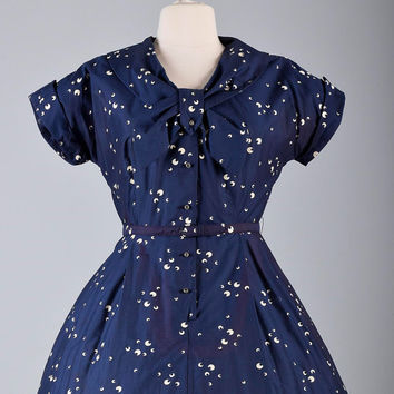 Vintage 50s Navy Blue Moon Short Sleeve Fit and Flare Party Dress Mid Century PLus Size XL XXL Larger