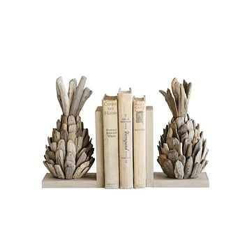 Driftwood Pineapple Bookends Set of 2