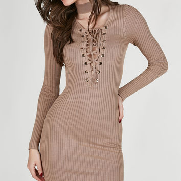 Boo Thang Lace Up Midi Dress